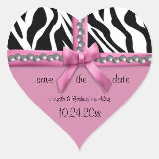 Arco rosado y rayas blancas de la cebra con las pegatinas corazon personalizadas