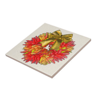 Arco secado de la guirnalda y del oro de la pimien azulejos