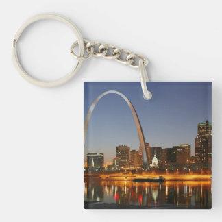 Arco St. Louis Mississippi de la entrada en la Llavero Cuadrado Acrílico A Doble Cara