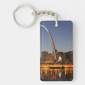 Arco St. Louis Mississippi de la entrada en la Llavero Rectangular Acrílico A Doble Cara