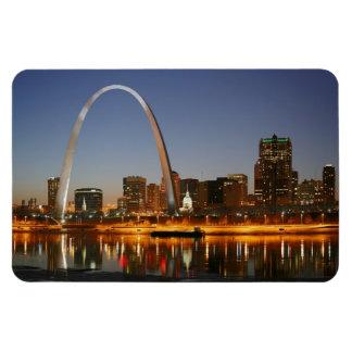 Arco St. Louis Mississippi de la entrada en la noc Imanes De Vinilo