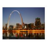 Arco St. Louis Mississippi de la entrada en la noc Tarjetas Postales