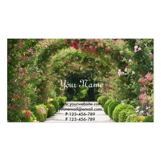 Arco subió floreciente en el jardín plantillas de tarjetas de visita