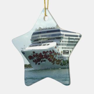Arco tachonado gema adorno navideño de cerámica en forma de estrella
