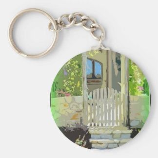 Arco verde de la puerta llavero redondo tipo pin