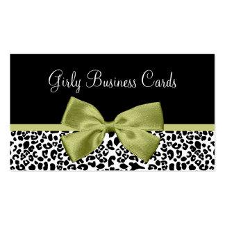 Arco verde elegante del estampado leopardo tarjetas de visita