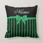 Arco verde negro conocido de encargo de las rayas  almohada