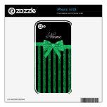 Arco verde negro conocido de encargo de las rayas  iPhone 4S calcomanía