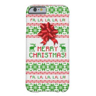 Arco verde rojo del suéter feo del navidad del funda para iPhone 6 barely there