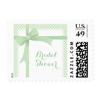 Arco verde y ducha nupcial de los puntos blancos timbre postal