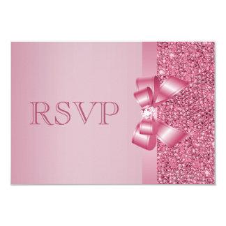"""Arco y diamante impresos rosa RSVP de las Invitación 3.5"""" X 5"""""""