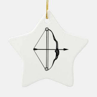 Arco y flecha adorno navideño de cerámica en forma de estrella