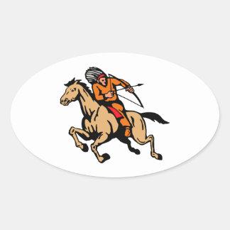 Arco y flecha indios americanos del caballo de mon calcomania de oval