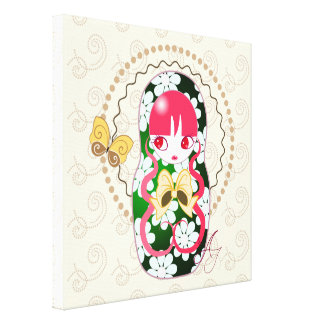 Arco y flores Matryoshka del oro de Kawaii Impresiones En Lona Estiradas
