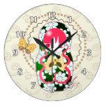 Arco y flores Matryoshka del oro de Kawaii Relojes De Pared