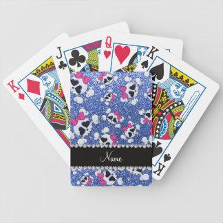 Arcos azules del rosa de los cráneos del brillo barajas de cartas