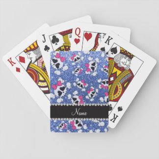 Arcos azules del rosa de los cráneos del brillo cartas de póquer