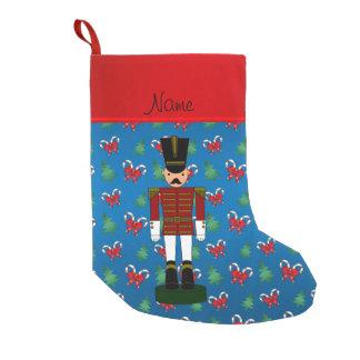 Arcos azules personalizados de los bastones de calcetín de navidad pequeño