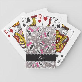 Arcos conocidos de encargo del rosa de los cráneos cartas de póquer