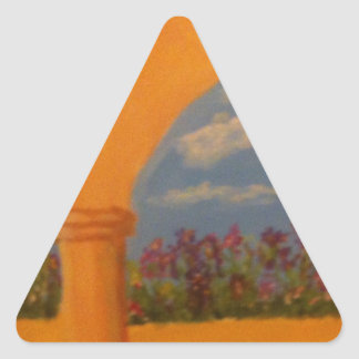 Arcos del jardín de flores pegatina triangular