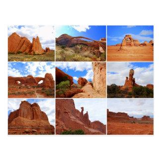 Arcos parque nacional, Utah, collage, postal
