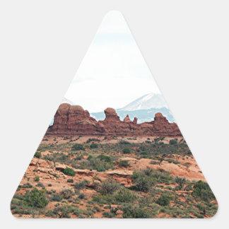 Arcos parque nacional, Utah, los E.E.U.U. 13 Pegatina Triangular