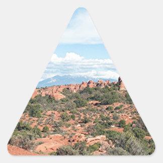 Arcos parque nacional, Utah, los E.E.U.U. 2 Pegatina Triangular