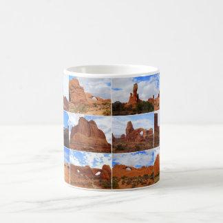 Arcos parque nacional, Utah, taza del collage