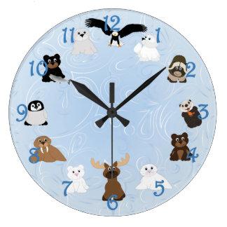 Arctic Alaska Animals Large Clock