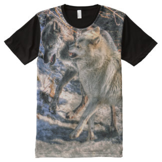Arctic and Grey Wolf Fighting Wildlife Photo All-Over Print T-shirt