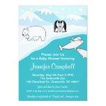 "Arctic Animals Baby Shower Invitation 5"" X 7"" Invitation Card"