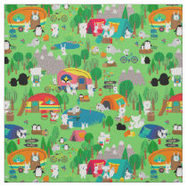 Arctic Animals Camping Bright Green Kids Fabric