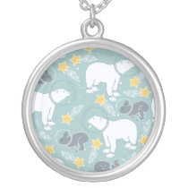 Arctic Animals in Space Pattern Silver Plated Necklace