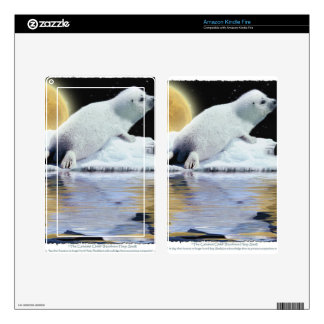Arctic Baby Harp Seal Moon & Ice Floe Skin For Kindle Fire