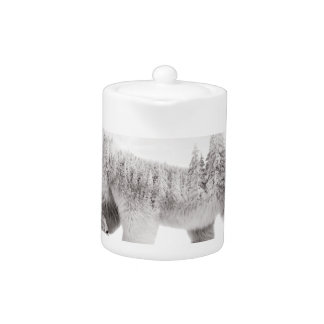 Arctic bear Black and white Teapot
