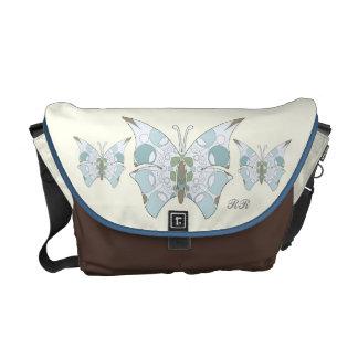 Arctic Blue Camo Butterflies Medium Messenger Bag
