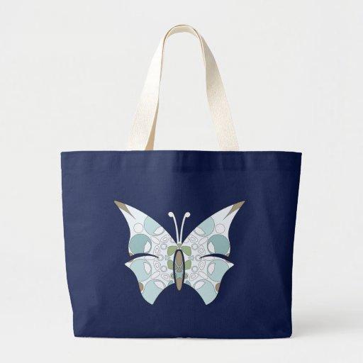 Arctic Camo Butterflies Jumbo Dark Canvas Tote Bag
