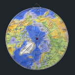 "Arctic Circle Dartboard<br><div class=""desc"">With the bullseye centered on the North Pole,  the Arctic Circle is the focus of this dual map/dartboard. Make your territorial claims with every toss of your darts! Quick,  the ice is melting... .</div>"