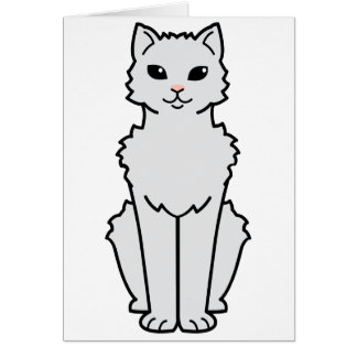 Arctic Curl Cat Cartoon Card