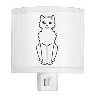 Arctic Curl Cat Cartoon Night Lights