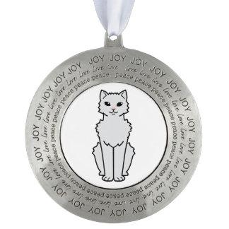 Arctic Curl Cat Cartoon Round Pewter Christmas Ornament