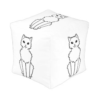 Arctic Curl Cat Cartoon Cube Pouf