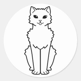 Arctic Curl Cat Cartoon Classic Round Sticker