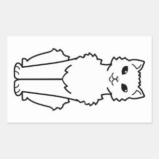 Arctic Curl Cat Cartoon Rectangular Sticker