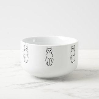 Arctic Curl Cat Cartoon Soup Bowl With Handle