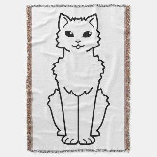 Arctic Curl Cat Cartoon Throw Blanket