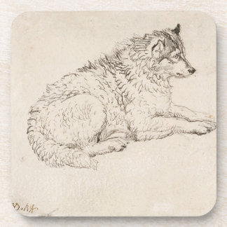 Arctic Dog, Facing Right (pencil on paper) Beverage Coaster