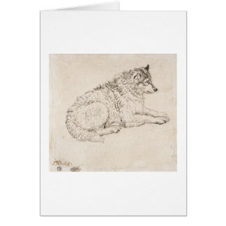 Arctic Dog, Facing Right (pencil on paper) Card