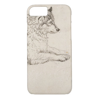Arctic Dog, Facing Right (pencil on paper) iPhone 8/7 Case