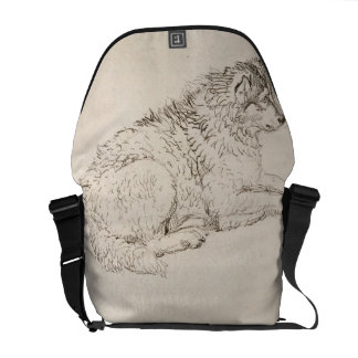 Arctic Dog, Facing Right (pencil on paper) Messenger Bag